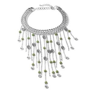 Green Howlite Beads Fringe Choker Necklace (18 in)